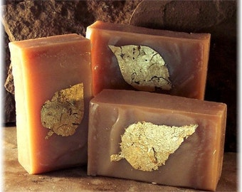 Sensuous Sandalwood Amber Handmade Cold Process Soap with Pure Gold Leaf