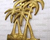 Vintage brass stampings palm tree bright brass, 2 pcs
