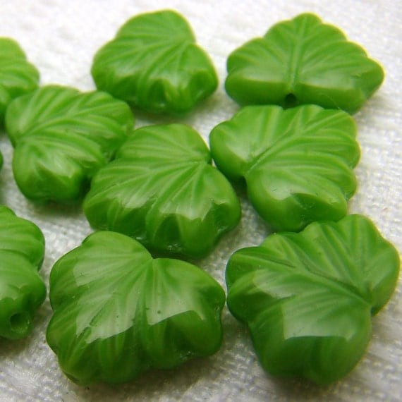 Maple leaf beads, light green, Czech glass opaque 13 mm x 10 mm, 10 pcs