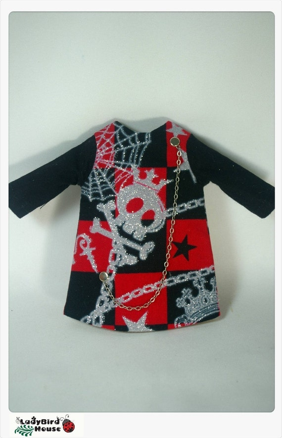 LADYBIRD HOUSE Blythe Outfit Black And Red Skull Dress