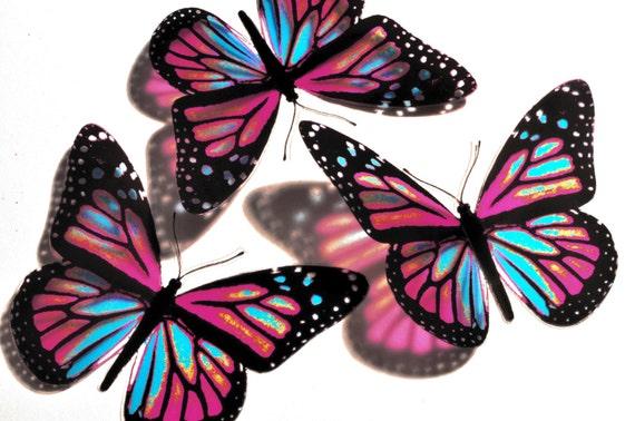 10x 3D Butterflies Pink and Blue Wall Art Decoration Kids Bedroom Bathroom Nursery Kitchen Suncatcher