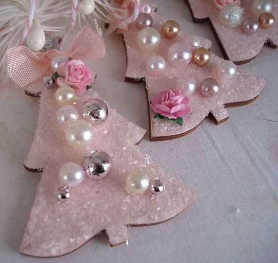 Pink christmas tree ornaments set of 2 for Pink christmas decorations