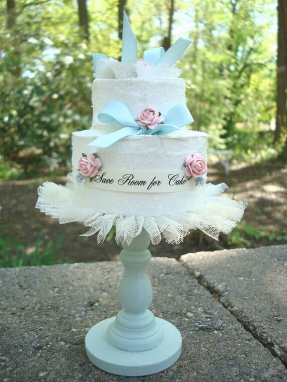 Save Room for Cake Aqua Cottage Shabby