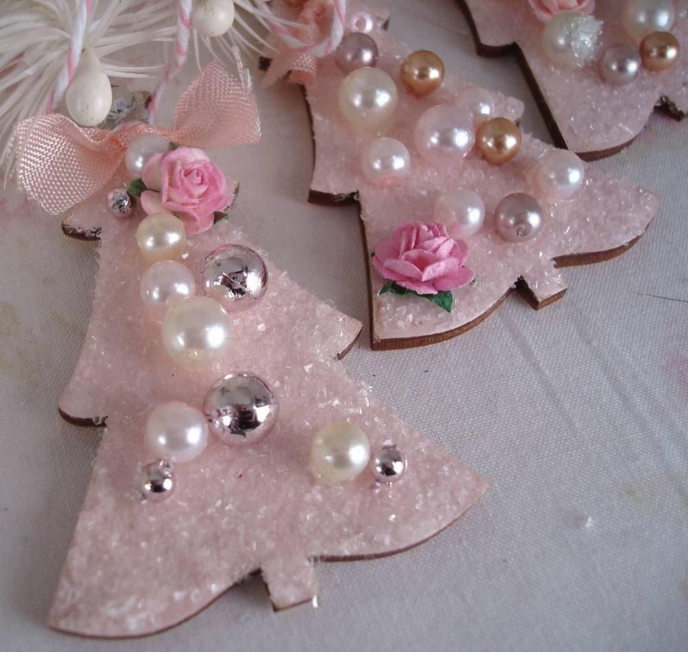 Pink Christmas Tree Ornaments Set of 2