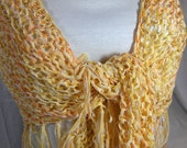 Hand Knit Triangle Shawl or Scarf versatile all season Summer Citrus Sun