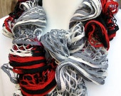 Endless Ruffle Infinity Scarf hand knit Collegiate Ready to Ship great gift Ships Free in the USA