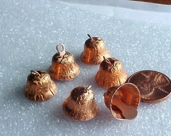 6 Vintage Bell Charms, Copper Plated with Floral Design, Very Cute