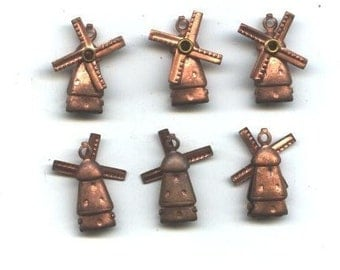 6 Vintage Copper Plated Windmill Charms, Mechanical, 1950s-60s