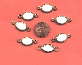 7 Vintage WHITE Glass Connector Beads in Brass Setting