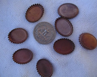 10 Vintage Copper Plated Brass Bezels, 14mm x 20mm Oval with Crown Edge