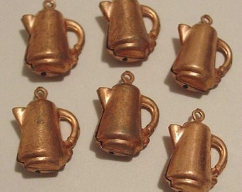 6 Vintage Copper Plated Coffee Pot Charms