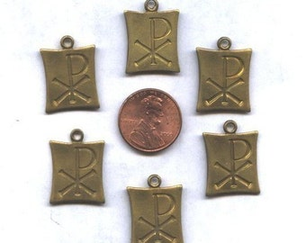 6 Brass Chi Rho Religious Charms or Medals
