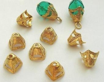 50 Brass Bead Caps, 7mm