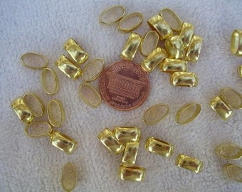 50 Vintage Brass Oval Connectors, 5mm x 10mm Oval, 4-5mm Width