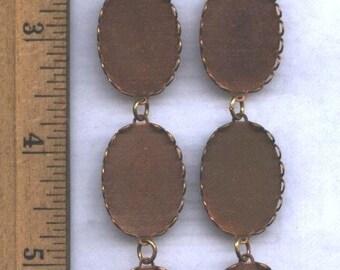 12 Vintage Copper Bezels, 18mm x 25mm Ovals Linked Together