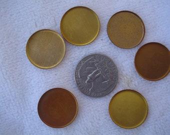 20 Vintage Brass Bezels, 20-21mm Round
