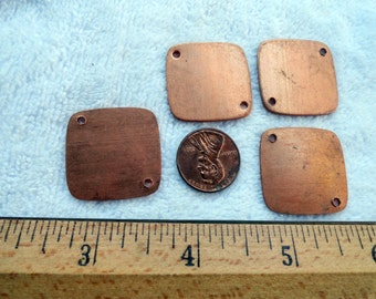 10 Brass Tags, 27mm x 27mm, Two Drilled Holes