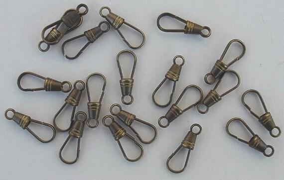50 Vintage Brass Lanyard Hooks, Key Chain Clips