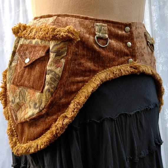 Festival pocket belt - Burning Man utility belt - gold chenille and tapestry - size Medium