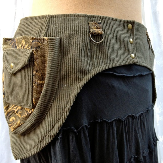 Steampunk utility belt - Burning Man tool belt - olive corduroy - size Large - custom listing for rationalia