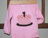 CLEARANCE SALE - Girls First Birthday Cake Shirt in Pink Polkadots - long sleeved size 2t