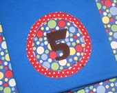 CLEARANCE SALE - Boys 5th Birthday Shirt Red and Blue Primary Polkadot Number 5 Shirt - 5t short sleeve