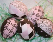 Pretty in Pink Polkadots, Paisley, and Plaid Cloth Fabric Easter Eggs - half dozen - Great decoration and childrens basket filler