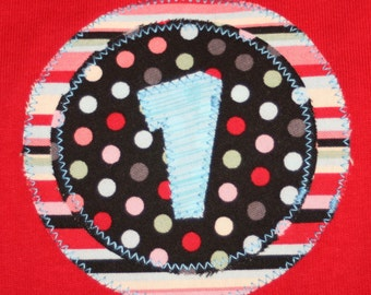 CLEARANCE SALE - Girls First Birthday Number 1 Shirt - 12 mo long sleeve red shirt with black pink aqua