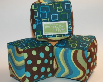 Pop Parade in Aqua and Brown - Cloth Fabric Play Blocks for babies or toddlers - Set of 3
