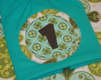 CLEARANCE SALE - Girls 1st Birthday Number 1 Shirt in Mezzanine Aqua and Green - 18 month short sleeve