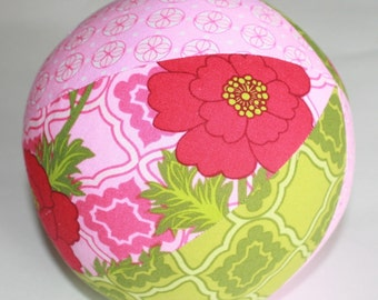 Mezzanine Secret Garden in Lime Green and Pink - Large Cloth Jingle Ball for baby
