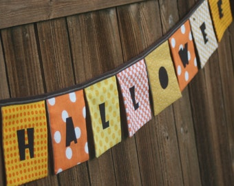 HAPPY HALLOWEEN Reusable Cloth Fabric Banner - Orange, Yellow, Brown - Eco Friendly