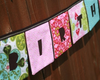 Girls HAPPY BIRTHDAY Reusable Cloth Fabric Banner - Mezzanine Pastels in Pink, Lime Green, Aqua Blue
