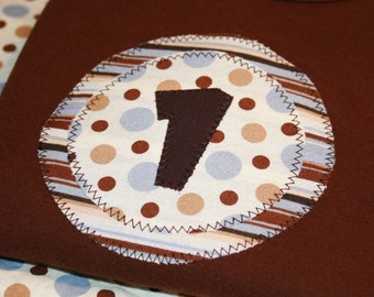 Boys First Birthday Number 1 Shirt in Light Blue and Brown Polkadot - 18 month short sleeve