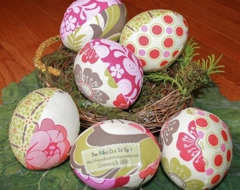 Meadowsweet Pastel Floral Fabric Easter Eggs - half dozen - Great for decoration or girls Easter basket