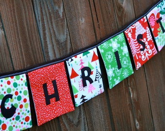MERRY CHRISTMAS Reusable Fabric Banner in Sparkle All the Way and Funky Christmas fabrics