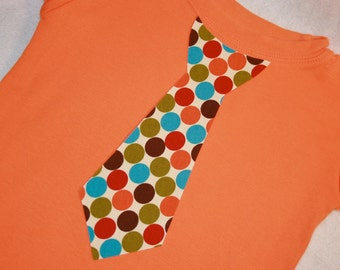 Boys Autumn Tie Tee - Polkadots in Green Blue Orange Red and Brown - size 12 months to size 6 - long or short sleeved available