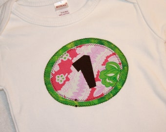 CLEARANCE SALE - Girls First Birthday Shirt Pink and green tea party - 12-18 month long sleeve shirt