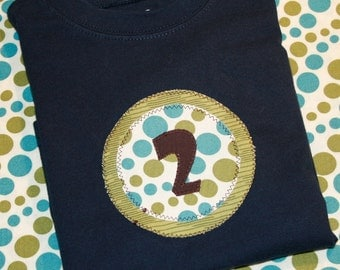 Boys Second Birthday Number 2 Shirt in Aqua and Green Dots - 24 month short sleeve navy shirt