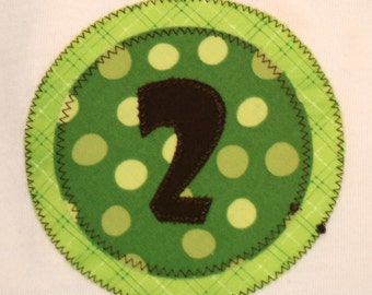 CLEARANCE SALE - Boys or Girls Second Birthday Number 2 Shirt - 24 month short sleeve white shirt with lime green patterns