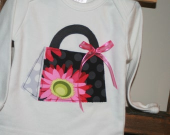 SAMPLE SALE - Flora Purse Baby Girl Shirt - Long Sleeved size 3-6 months