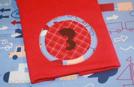 SALE - Boys 3rd Birthday Number 3 Shirt in Red and Light Blue -3t short sleeved