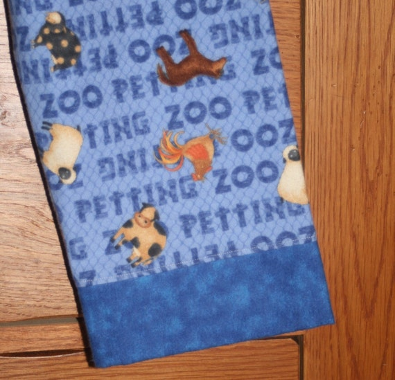 SALE - Petting Zoo Farm Animals Boys Blue Flannel Lounge or Pajama Pants - CUSTOM sizes 12-18, 2, 3, 4, 5