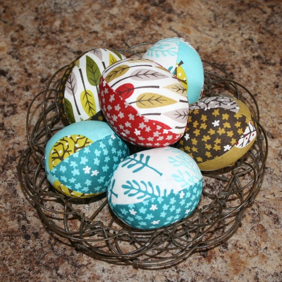 Nature Walk ORGANIC Cloth Fabric Easter Eggs - half dozen - Great decoration or basket filler - LAST SET in this design