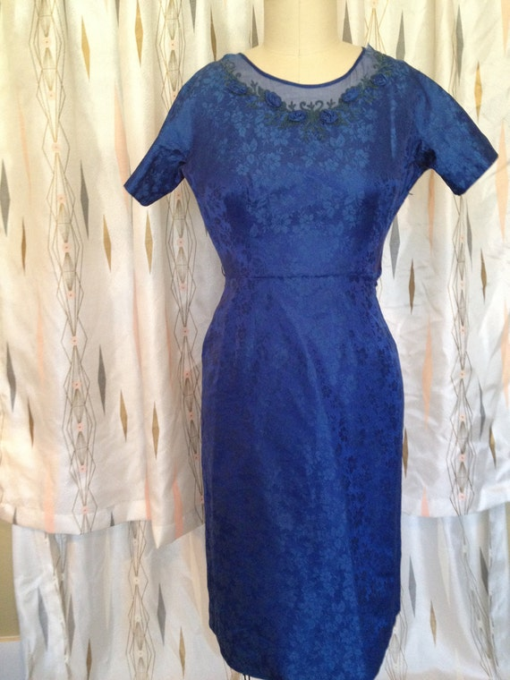 Blue Rosettes Vintage Wiggle Dress