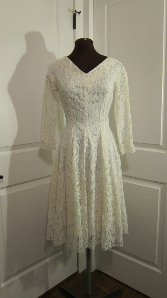 HOLD FOR SOLEY White Wonderland Wedding Dress 1950s Satin and Lace