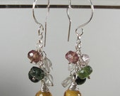 Dangly Earrings - Tourmaline and Citrine - ES165