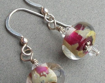Silvered Cranberry Lampwork and Sterling Silver Earrings - EL110