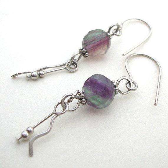 Fluorite and Sterling Silver Dangle Earrings - STW104