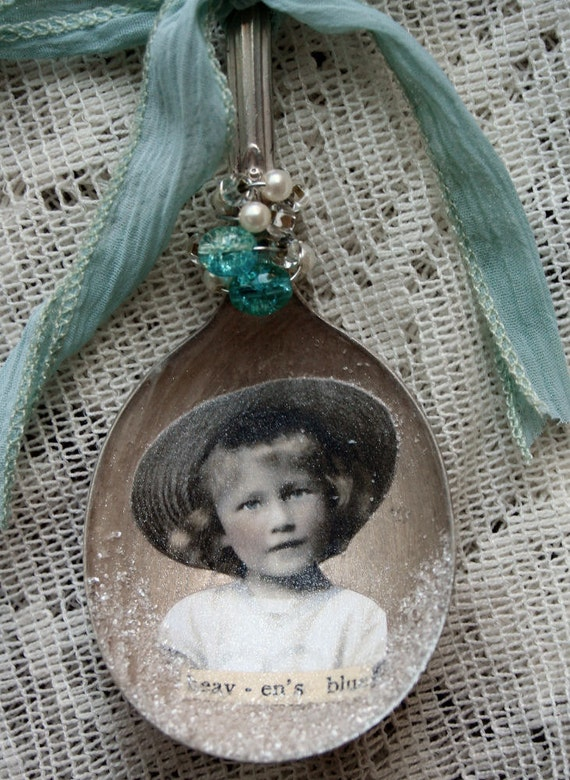 Heavens Blue Altered Whimsical Spoon Ornament